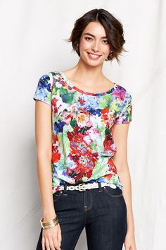 Land's End Slub Jersey Floral Art Tee - $29, in petite and plus, too!
