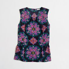Factory printed sleeveless flounce top : Sleeveless | J.Crew Factory