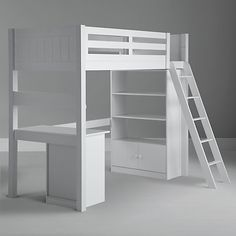 JOHN LEWIS ASHTON HIGH SLEEPER WITH BOOKCASE AND DESK, WHITE - really practical for kids rooms. £1,350.00 This versatile high sleeper helps you to make the most of more compact spaces. - See more at: http://www.cruxbaby.co.uk/shop/cots-cot-beds/john-lewis-ashton-high-sleeper-with-bookcase-and-desk-white/#sthash.TcUsGvqB.dpuf