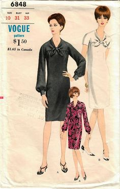 1960s Vogue 6848 Vintage Sewing Pattern Misses Slim Dress