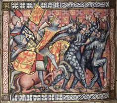 Alexander's battle with wild men. The Romance of Alexander, c. 1338-1344, MS. Bodl. 264, fol. 66v, The Bodleian Library, University of Oxford.