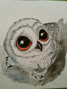 Little snow owl. Watercolor painting. Brenda Sauve