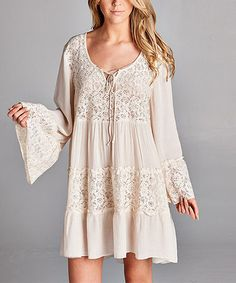 Off-White Lace-Accent Bell-Sleeve Tunic Dress #zulily #zulilyfinds