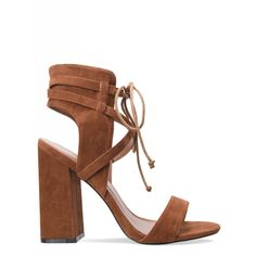 Lacie Tan Suede Cross Strap Lace Up Heels : Simmi Shoes