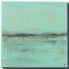 Abstract beach painting, Impressionist ocean painting, sea-green toned 12x12 square