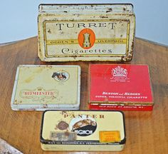 4 Old Tins Vintage Tins Old Cigarette And Cigar by Collectitorium