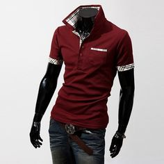 Style: Fashion Fabric Type: Broadcloth Material: Cotton Collar: Turn-down Collar Sleeve Length: Short Item Type: Tops Tops Type: Tees Gender: Men
