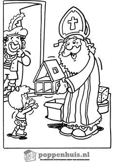 Stijn Kleurplaat Sinterklaas Sint Op Paard Met Zwarte Piet Kleurplaten Kerst