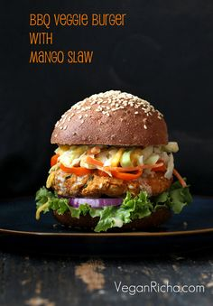 BBQ Veggie Burger with Mango Carrot Slaw.