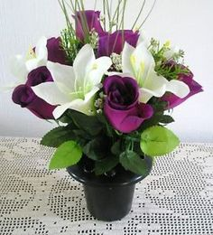 Artificial flower arrangements for graves artificial silk flower artificial flower arrangement in plastic grave potvase is a beautiful memorial tribute for your loved ones grave description from ebay mightylinksfo