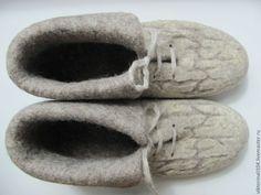"""Купить Ботиночки домашние валяные """"Деревенька моя 2"""" - серый, домашняя обувь, обувь из войлока"""