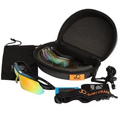 a38267a8a02 Jimmy Orange Multi Sport Sunglass Polarized Goggle with 5 Interchangeable  Lenses Mirrored Outdoor Running Cycling Sunglasses