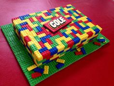 Lego Cake! Loved making this Lego cake! Marshmallow fondant on top of ganached cake. For instructions google 'How to Make a Lego Cake...