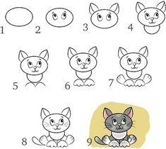 Как нарисовать котёнка карандашом поэтапно. Учимся рисовать по клеточкам котят. Как научиться рисовать котенка карандашом поэтапно для детей и начинающих