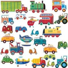 wall decals. Everything with wheels, which he loves!