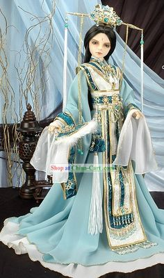 Ancient Chinese Emperor Costume and Crown Complete SetCary