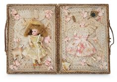 Pretty Miniature Bisque Doll in Elaborate Trousseau Case for the French Market 900/1400 Auctions Online | Proxibid