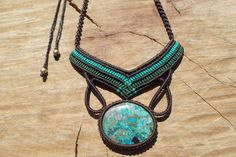 chrysocolla necklace,gemstone necklace,macrame jewelry,macrame necklace,turquoise color,cabochon necklace,womans necklace,gift for her,boho by ARTEAMANOetsy on Etsy