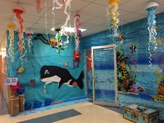 """Check out this awesome book fair """"under the sea""""! Erica Nunez, creator/designer at DigiGirl Paper Crafts and talented parent volunteer at Miami Lakes Center, sent us these photos and we thought,."""
