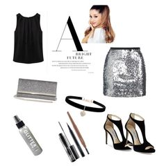 """""""party black"""" by prachi13 ❤ liked on Polyvore featuring Topshop, WithChic, Jimmy Choo, Betsey Johnson and MAC Cosmetics"""