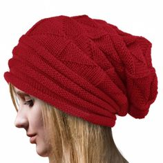 41c60f06c68 Mandy Womens Winter Crochet Hat Wool Knit Beanie Warm Caps Red   You can get  more