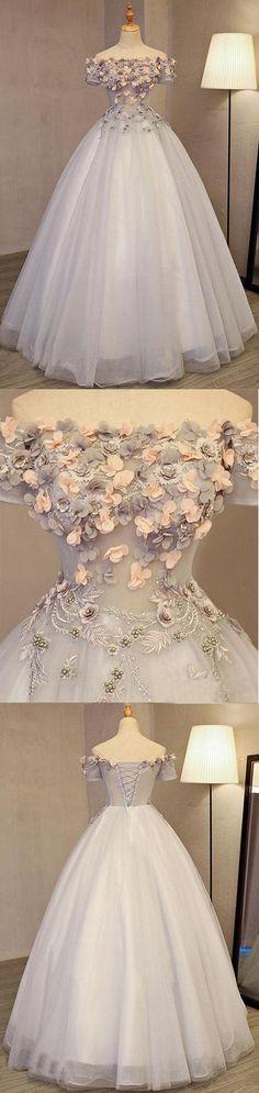 Grey Long Applique Off the Shoulder Tulle A-Line Prom Dress #offtheshoulder #flower #long #evening #formal #okdresses #grey