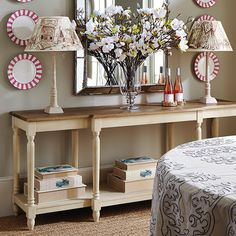 Upton weathered oak top console with break-fronted design. Linen grey finish with a solid weathered oak top and useful shelf below. Weathered Oak, Hall Console Table, Farmhouse Console Table, Lounge Furniture, Painted Table, Entryway Decor, Table Linens, Console Table Lamp, Oak Furniture Land
