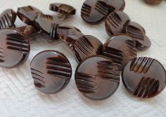 Chocolate Vintage Buttons  8 Sleek Mid Century by AddVintage, $4.00