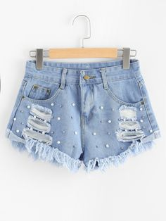 Shop Faux Pearl Beading Raw Hem Ripped Denim Shorts at ROMWE, discover more fashion styles online. Crop Top Outfits, Cute Casual Outfits, Short Outfits, Distressed Black Jeans, Black Ripped Jeans, Girls Fashion Clothes, Teen Fashion Outfits, Red Plaid Pants, Short En Jean