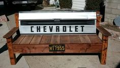 Tailgate bench Man Cave Garage, Automotive Furniture, Automotive Decor, Truck Tailgate Bench, Exterior Design, Interior And Exterior, Cave Bar, Bed Bench, Outdoor Furniture