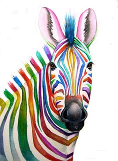 Colourful ZEBRA Art Signed Print from an original watercolour painting by artist Maria Moss. Available in 4 sizes. Arte Zebra, Zebra Kunst, Zebra Art, Giraffe Art, Zebra Painting, Painting & Drawing, Watercolor Paintings, Zebra Drawing, Rainbow Zebra