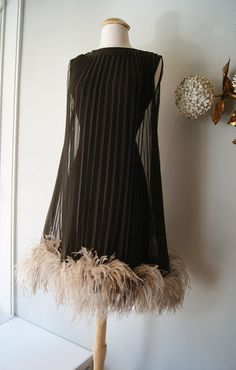 1960's Miss Elliette feathered cocktail dress