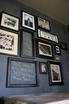 Love the idea of a framed chalkboard on a wall with a picture collage.