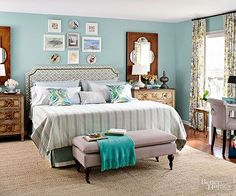 The room's previous pink walls and oak furniture caused everything to recede and nothing to stand out. Now, with a palette of oatmeal and blues -- plus furniture in varying finishes -- the room is dynamic and stylish. Makeover Lesson: Mix it up by stepping away from the furniture set. Look for other ways to unify the space, such as through a color palette or style details./