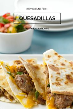 Spicy Ground Pork Quesadillas. Ready in 30 minutes or less and super tasty. Use lean ground pork for a healthy substitute.