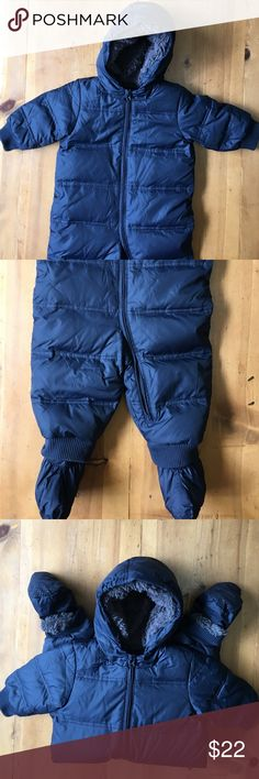 Baby Gap Snow Suit Blue soft comfortable excellent condition booties snap on and off hood is attached zips up front 36 in long 14 in chest 91/2 in sleeve 81/2 in inseam without booties size 12 to 18 months Gap Jackets & Coats Puffers