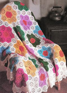 I just love vintage crochet and knitting patterns and have amassed quite a collection. Now that they are back in fashion and all the rage, Im happy to be able to pull them out and share them!  Here is a vintage 70s afghan crochet pattern to add to your collection. A pattern from history to make a beautiful throw for your décor and the softness, serenity of a more romantic era with this hexagon flower afghan.  One size 69 x 54 inches  Crochet Hook size F For more patterns https://www...