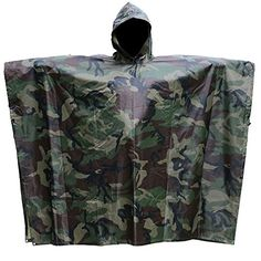 Rain Poncho -91''x55''-Lightweight Backpack Ideas Multifunction Military Emergency Camouflage Raincoat Waterproof for Adults Bike Tarp Shelter Tent -- More info could be found at the image url.