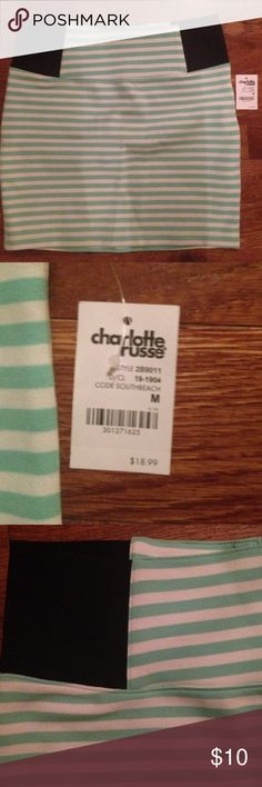 Skirt Charlotte Russe Bodycon skirt. Size M. Mint green and white stripes. Zipper in the back. Never been worn Charlotte Russe Skirts Mini