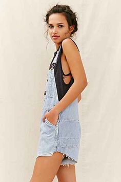 Urban Renewal Recycled Denim Shortall Romper - Urban Outfitters
