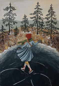 5 x 7 fine art print Art And Illustration, Ink Illustrations, Winter Art, Gouache Painting, Amazing Art, Watercolor Art, Folk Art, Artsy, Fine Art Prints
