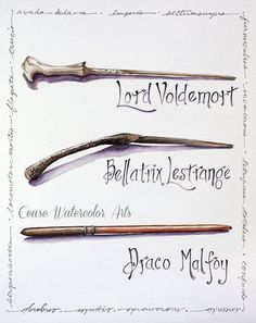 Lord Voldemort, Bellatrix Lestrange and Draco Malfoy wands in Watercolor - 8x10 Giclee print