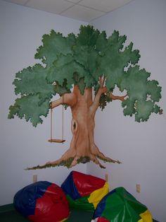 Tree mural for kid room