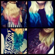 My different purple pink blue and turquoise dip dye hair :-)