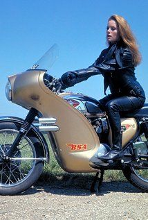 """Italian actress Luciana Paluzzi on a BSA Lightning, featured on a James Bond movie from 1965 """"Thunderball"""". Photo from Pinewood Studios, but is also featured in the Lewis Leathers page. Halle Berry James Bond, Britt Ekland, Ursula Andress, Olga Kurylenko, Denise Richards, Jane Seymour, Eva Green, Sons Of Anarchy, Bond Girls"""