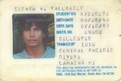Steven Tyler of Aerosmith (aka Steven Tallarico) and his diver's—not drivers, diver's—license issued in Hawaii in 1987 Elevator Music, Steven Tyler Aerosmith, Dangerous Minds, James Brown, Janis Joplin, Johnny Cash, Husband Love, Ex Husbands, Alfred Hitchcock