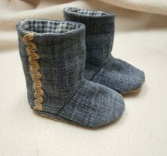 Baby Boots Bootees in Denim with Blue  Check Lining by accessorize, $18.00