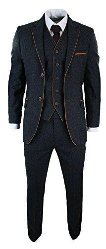 Mens-Herringbone-Tweed-3-Piece-Suit-Vintage-Tailored-Fit-Brown-Suede-Patch-Blue