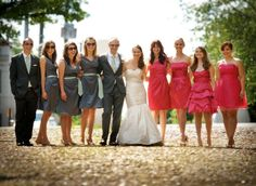 Groomsman and groomsladies on the left, bridesmaids on the right. i love the groomsladies (especially the tie belts) but since they all matched dresses i would have had the styles of the bridesmaids dresses match each other. This adorable! Perfect Wedding, Dream Wedding, Garden Wedding, Wedding Book, Purple Wedding, Wedding Colors, Lauren Tom, Bridesman, Old Town Alexandria