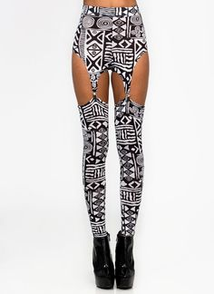 TRIBAL PRINTED GARTER LEGGINGS from GoJane.com